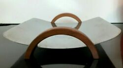 Vintage Mcm Revere Ny Chrome Serving Bread Tray Arched Wood Handles Art Deco