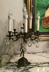 21 Antique Electric Candelabra Brass Child Figural Table Lamp