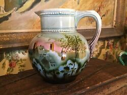 Vintage Hand Painted Pottery Pitcher Slovakia Country Scene Trees Farmhouse
