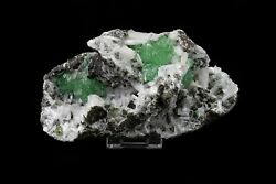 Green Aphophyllite And White Stilbite With Chalcedony - B17