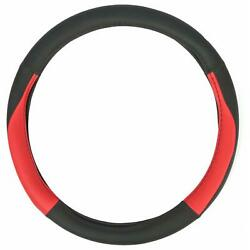 1x 15 Universal Soft Leather Black And Red Sport Custom Steering Wheel Cover
