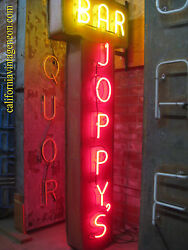 Vintage 1970's Joppy's Bar Antique Two-sided Neon Sign