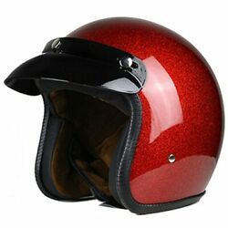 Vintage Motorcycle Helmet Men Women Retro Open Face Lightweight Dot Certified