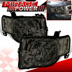 Chrome Housing Smoke Lens Headlights Upgrade Replacement For 08-12 Ford Escape