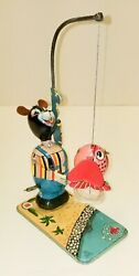 Vintage Tps Japan Bear Fishing Tin Litho Wind Up Mechanical Toy Collection 3of24