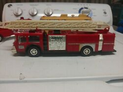 1986 Hess Fire Truck Bank Gold Colored Grill Edition W/box Tested Lights Work