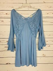 Umgee USA Boutique Women's Size L Large Blue Lace Cute Summer Tunic Top Blouse $22.00
