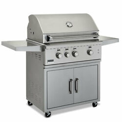 Broilmaster Stainless 34 Gas Grill On Cart- Cast Stainless Steel Burners