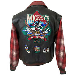 Vintage Mickey Mouse Jacket Disney Leather Wool Ski Trip 90s Coat Men's Small $139.99