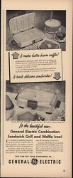 Vintage 1950 General Electric Sandwich Grill And Waffle Iron Print Ad, D1
