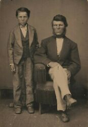 Old Antique Tintype Photo Mormon Father Son Gold Mining Ghost Town Mammoth Utah
