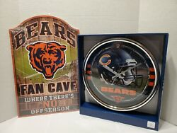 Chicago Bears Clock And Sign Wall Decor