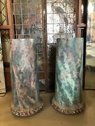 Pair Of Antique Turn Of The Century Faux Painted Marble Oak Display Columns