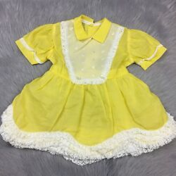 Vintage 1950s Toddler Girls Bright Yellow White Lace Ruffle Dress $90.00
