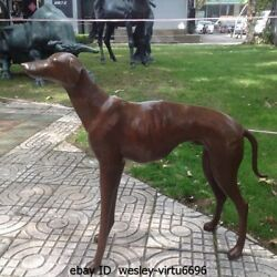 Western Pure Bronze Imperial Family Greyhound Dog Statue Art Deco Sculpture G145