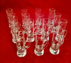 Vintage Etched Flower On Glass Shot Glass With Finger Handle. Lot Of 15