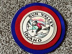 Vintage 1930s Sun Valley Idaho Layered Leather And Felt Ski Patch