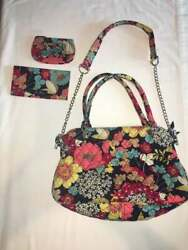 Vera Bradley Chain Bag Happy Snails Id Wallet Checkbook Cover Floral