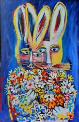 Auguste Blackman Bunny Bouquet - Signed Oil Painting Flowers Lovely Rabbits