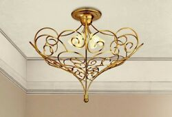 Ceiling From Ceiling Classic Metal And Glass Satin Gold Cream