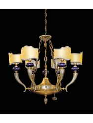 Chandelier Classic Brass And Porcelain With Shades Tp 154-LA-6-02