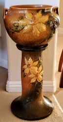 Roseville Pottery Clematis Flowered Jardiniere On Pedestal 667-8 1940and039s Unique