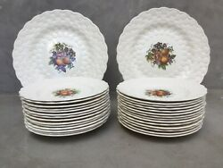 18 Spode Alden Embossed Luncheon Plates And One Chop Platter. Hand Numbered