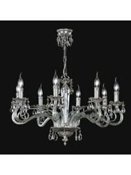 Chandelier Classic Crystal And Brass Leaf Silver Tp 165-la-8-25
