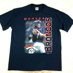Vintage 90s 1998 Mens XL Denver Broncos John Elway Graphic Tee T-Shirt Blue $23.60