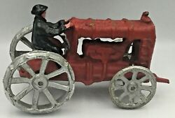 Vintage Ford Cast Iron Tractor And Driver Farm Toy With Front Crank Ships Free