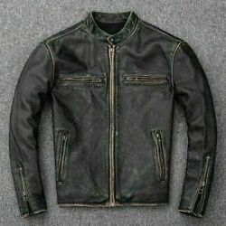 Menandrsquos Motorcycle Biker Vintage Distressed Black Faded Real Cow Leather Jacket