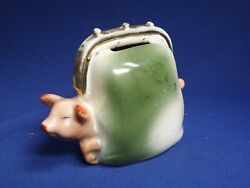 Antique One Pink Pig Fairing In Green Suitcase Bank Souvenir Germany Signed Fine