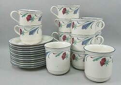 Lot Of 12 Lenox China Poppies On Blue Cups And Saucers Sets + 2 Mugs Ex
