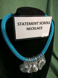 Turquoise Braid Aluminium Necklace, Silver Plated Clasp Fine Dress Jewellery
