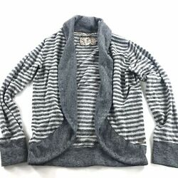Element Womens Open Front Knit Top Grey Stripes Large L Cotton Cardigan Shirt