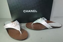 40 Metallic Silver Quilted Leather Foot Bed Cc Thong Sandals Flats New