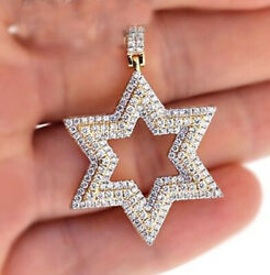 2.85ct Natural Round Diamond 14k Solid Yellow Gold Star Pendant