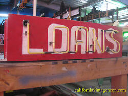 Vintage 1950and039s Neon Loans Hanging Store Sign / Pawn- Real Estate - Car Sales