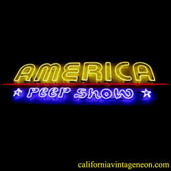 Vintage 1980's America Peep Show Large Neon Sign / Single Sided Antique