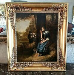 Antique 19th C. Oil Painting Figural Landscape Scene Woman Eavesdropping Signed