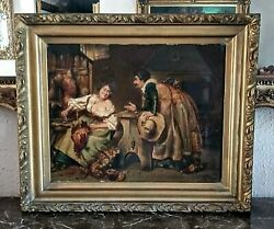Antique Late 18th C. Oil Painting Man And Lady Gossiping Interior Scene Signed Art