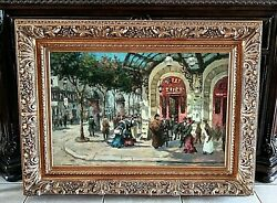 Antique Style Oil Painting Early 1900s Era Paris Street Scene Play House Signed