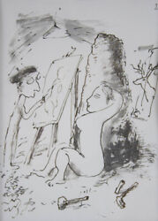 Garry Shead The Artistand039s Cave - Ink On Paper Satire Modernist Cartoon Muse