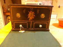 Dated And Signed Sewing Box In Original Paint With Decals 2 Drawers And Spool Ho