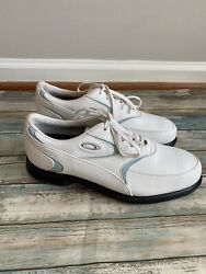 Oakley White Blue Leather Soft Spike Lace Up Golf Shoes Womens Size 8.5 $48.00