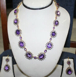 22.95ct Rose Cut Diamond Amethyst Antique Victorian 925 Silver Earring Necklace