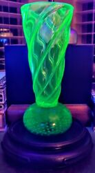 Thomas Webb And Sons C.1935 Vaseline Crystal Glass Thick Swirled V Cone....