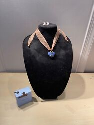 Wedgewood The Chantal Collection Heart Necklace Earrings Set Jewelry Blue