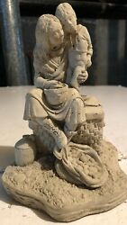 Mon And Son Sitting In A Basket Cement Statue 8 X 5 Tall And Wide