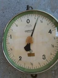 Vintage Chatillon Hanging Produce Butcher General Store Scale 15 Lbs 15 In Wide